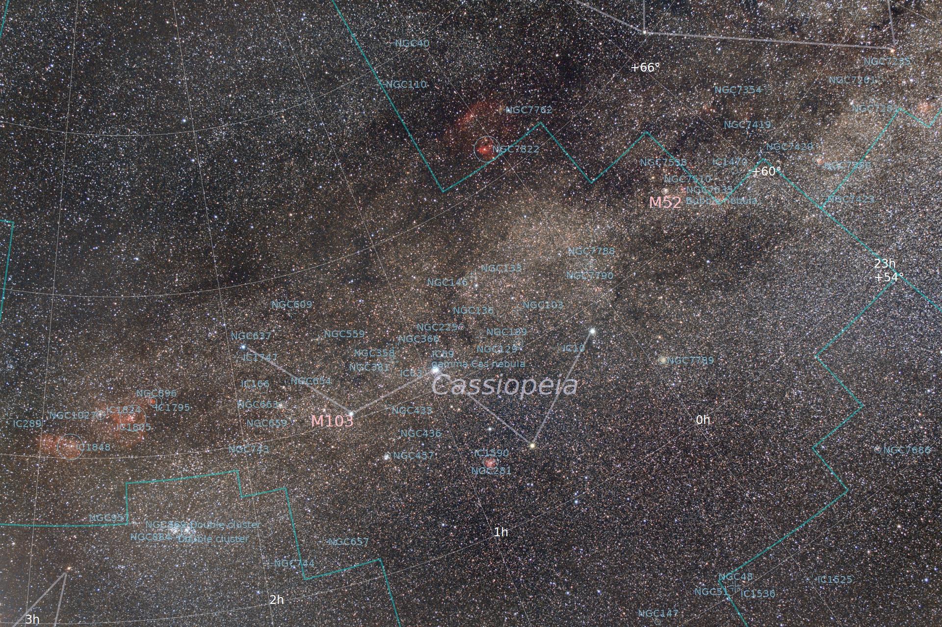Zona di Cassiopea con annotazioni degli oggetti presenti